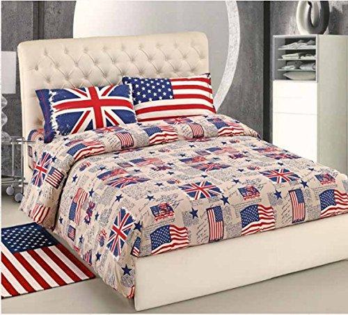 Lenzuola Matrimoniali In Inglese.Completo Lenzuola Matrimoniale Bandiere Usa Inglese Flag Uk100 Cotone Blu 2 Piazze