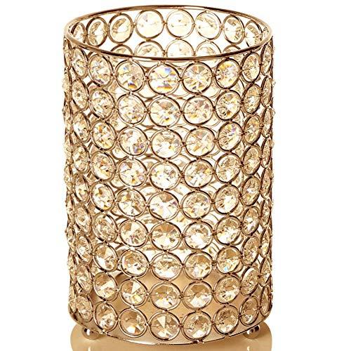 Vincigant cilindro d'oro vaso di cristallo/portacandele per sala da pranzo tavolino centrotavola con multi luce stellata colorata, regalo per matrimonio/halloween, 20cm di altezza