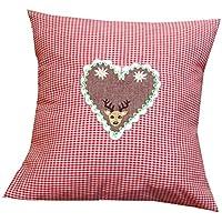 Kissen / Kissenbezug Vichy rot 35 x 35 cm mit Herz