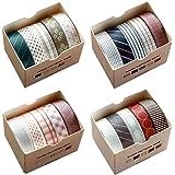 Washi Tape Set, 20 Rouleaux Washi Tape Ruban Adhésif Papier Décoratif Masking Tape pour Scrapbooking Bricolage Travaux Manuel