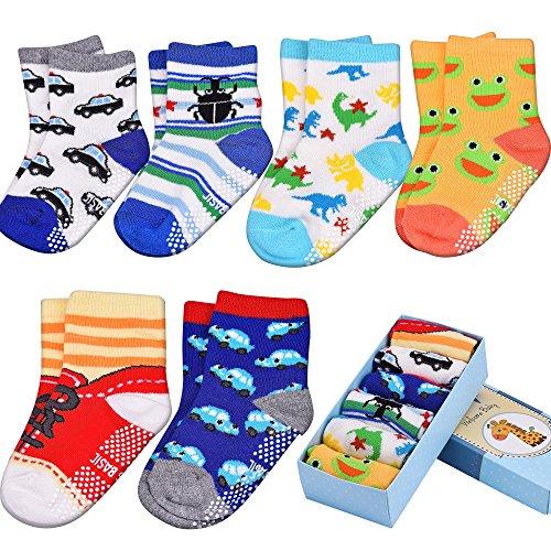 Baby ABS Socken, Anti Rutsch Socken für 12-36 Monate Baby Mädchen und jungen,Antirutsch6-PackBabysocken BoxSet (Baby Socken Geschenk-box)