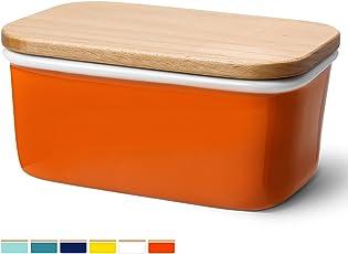 Sweese 3157-3162 Butterdose mit Deckel, Hochwertig Porzellan und Holzdeckel, groß