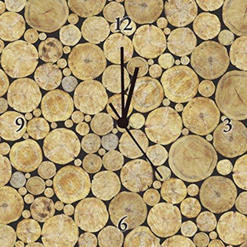 Artland Analoge Wand-Funk-oder Quarz-Uhr Digital-Druck Leinwand auf Holz-Rahmen gespannt mit Motiv Vasily Merkushev Gestapelte Baumstamm Struktur, naturlicher Hintergrund Botanik Bäume Fotografie Braun A7MQ (Holz Gestapelte)