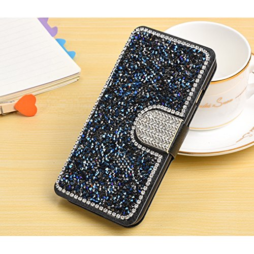 Sunroyal Etui Lederhülle für iPhone 7 Diamant Bling 3D Rhinestone Book Type Schutzhülle Magnetverschluss PU Leder Hülle Flip Tasche Wallet Case Cover HandyHülle Bookstyle Brieftasche mit Standfunktion Blau 002
