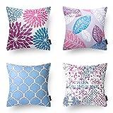 Phantoscope Decorative New Living Series Purple&Blue Throw Pillow Cushion Cover Set of 4