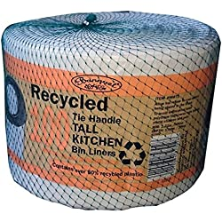Banquet Recycled 100 Tie Handle Tall Kitchen Bin Liners, White