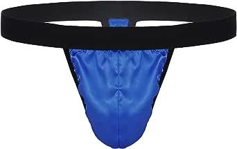 MSemis Men's Sissy Silky Satin G-String Thongs Crossdress Low Rise Bugle Pouch Bikini Briefs Lingerie Underwear