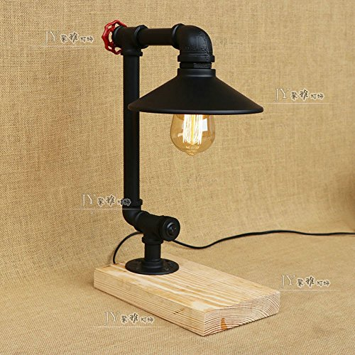Pumpink American Solid Wood Base Water Pipe Table Light Desk Lamp Mediterranean Minimalist Black Umbrella Desktop Light Rural Wrought Iron Industry Retro Vintage Reading Lamp For Bedside Restaurant Barn Pub Exhibition Hall