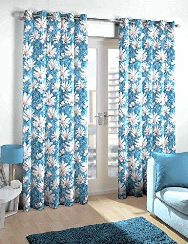 Skipper Polyester Eyelet Floral Door Curtain - 7ft, Blue