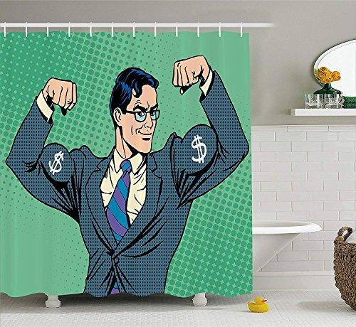 GAOFENFFR Grün Dekor Duschvorhang Pop Art Retro-Stil Männlicher Geschäftsmann mit Währung Dollar Print Stoff Badezimmer Dekor Set mitLong Petrol Blue