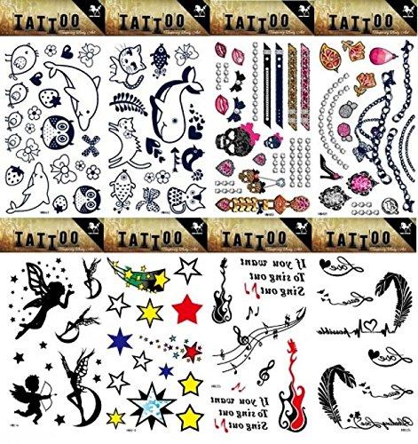 Spestyle 8pcs unterschiedlicher Blick mögen wirklich gefälschte Tätowierungaufkleberentwürfe in 1package, es einschließlich Engel, Sterne, Musikanmerkungen, niedliche Karikaturkatze, Delphine, Schmucksachen und Feder Tätowierungaufkleber