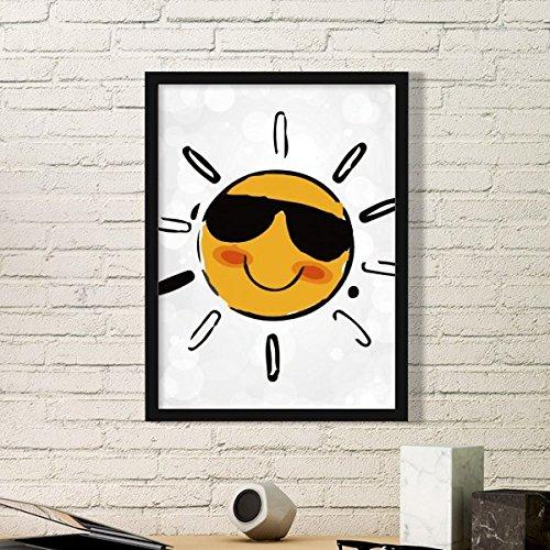 DIYthinker Sonnenbrille Wetter Sun Illustration Muster-Kunst-Malerei Bild Foto Wooden Rectangle Rahmen Ausgangswand-Dekor-Geschenk Medium Schwarz
