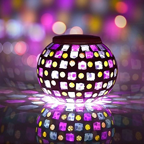 Solar Powered Mosaic Solar Lights LED Magic Sunshine Ball Colour Changing Lovely Night Lights Party Lights, Weatherproof Crystal Glass Globe Ball, Best Desk Table Lamps for Bedroom, Party, Garden, Patio, Yard, Colorful Outdoor / Indoor Decoration Led Ligh