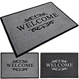 PROHEIM Fußmatte Welcome 40 x 60 cm Schmutzfangmatte Fußabstreifer Fußabtreter aus Baumwolle und Gummi - langlebig und robust, Farbe:Grau