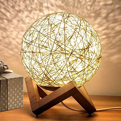 INJUICY Nordisch Schreibtischlampe, Modern Rattan Nachttischlampe, Kreativ Holzbasis Mond Nachtlicht für Kinderzimmer Geschenk (Gelb, Schalter) -