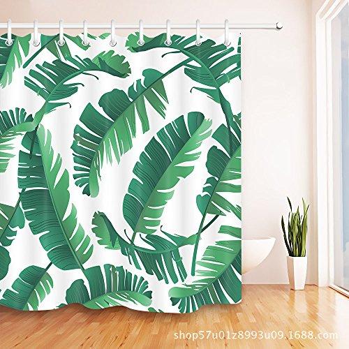 TS-nslixuan Duschvorhang Wasserdicht und Mildewproof Polyester Dekor Ihr Leben digital gedruckten Badezimmer Duschvorhang 180X180 cm (72x72 Zoll) Duschvorhang Palm Leaf Pflanze grün - Gewebte Palm Leaf