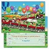 Partycards Set di 12 inviti compleanno Biglietti invito per festa compleanno Per Bambini e Adulti in Italiano - Fattoria animali