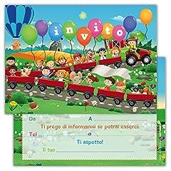 Idea Regalo - Partycards Set di 12 inviti Compleanno Biglietti invito per Festa Compleanno per Bambini e Adulti in Italiano - Fattoria Animali