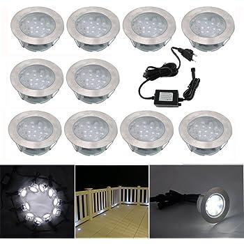 10x Lampe De Spot Led Pour Terrasse Enterre Plafonnier Ip67 Acier