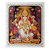Bild Ganesha 54 x 54 cm Gottheit Hinduismus Kunstdruck Plakat Poster Gold Indien Hochglanz Dekoration