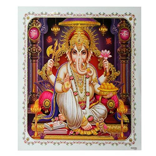 Bild Ganesha 54 x 54 cm Gottheit Hinduismus Kunstdruck Plakat Poster Gold Indien Hochglanz Dekoration - Ganesha-bild