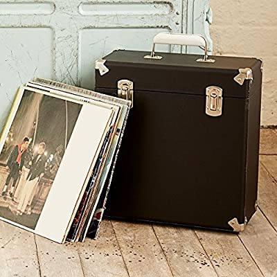 GPO Portable Carry Case for LP Records and 12-Inch Vinyl - Black