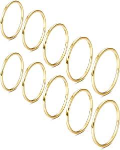 YADOCA 10 Pezzi Acciaio Inossidabile Anelli Impilabili per Donne Ragazze 1MM Anello dell'articolazione Midi Band Comfort Fit