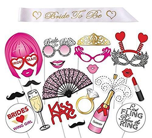 iLoveCos Bride to be Photo Booth Mariage Stand de Cabine de Photo et Satin Sash pour Girls Night Out Party Favors Selfie Booths Set Bachelorette Favors Dress-up Accessoires drôle 0667673135110