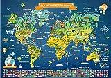 Poster Carte du Monde pour Enfants en Français | Grand Planisphère Mural Illustré | Noms des Pays, Drapeaux | Décoration Murale Chambre Enfant | Cadeau Éducatif | 5 Ans + | 84,1x59,4cm