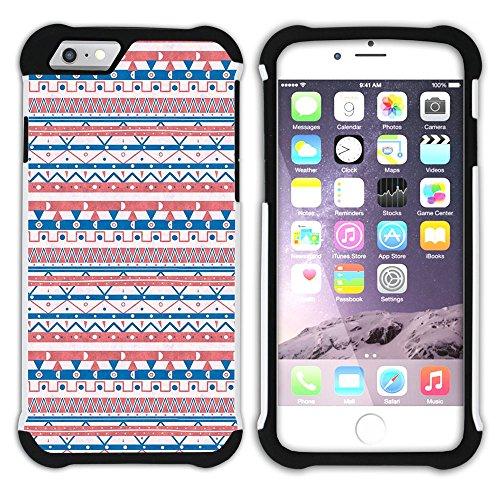 Graphic4You RED AND BLUE TRIBAL Muster Hart + Weiche Kratzfeste Hülle Case Schale Tasche Schutzhülle für Apple iPhone 6 Plus / 6S Plus Design #9