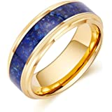 LerchPhi Mens 8mm Gold Tungsten Ring Natural Lapis Lazuli Carbide Wedding Band Promise Ring for Him Stepped Edge Comfort Fit