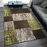Design Velours Kurzflor Teppich 'Patch' Vintage Muster, Farbe:Grün, Größe:200x290