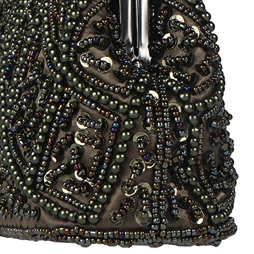 Bagood Women's Vintage Clutches Purses Evening Bags Handbag Shoulder Bag Seed Beaded Sequin Flower for Wedding Bridal Prom Party Grey Ore