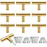 Anladia 10 x meubelgrepen deurknop roestvrij staal kast deurgrepen roestvrij staal relinggrepen T-vormige keukengrepen goud