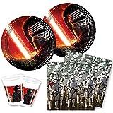 Star Wars Force Awakens Episodio 7- Vajilla para fiesta (juego de 52piezas: platos, vasos y servilletas) decoración para cumpleaños