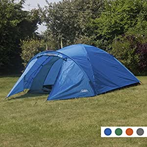 Andes Blue 4 Person Man Berth Double Skin Camping/Festival Dome Tent