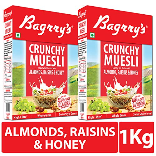 Bagrry's Crunchy Muesli, Oat Clusters with Almonds, Raisins & Honey - 500 GM (Pack of 2)