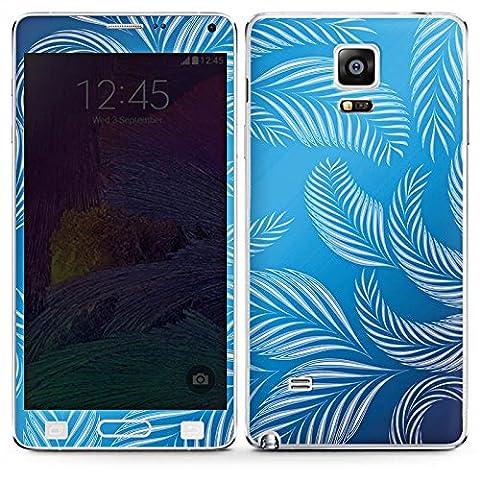 Samsung Galaxy Note 4 Case Skin Sticker aus Vinyl-Folie Aufkleber Palmen Blätter Blau
