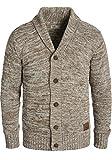 !Solid Philip Herren Strickjacke Cardigan Grobstrick mit Schalkragen aus 100% Baumwolle Meliert, Größe:L, Farbe:Dune (5409)