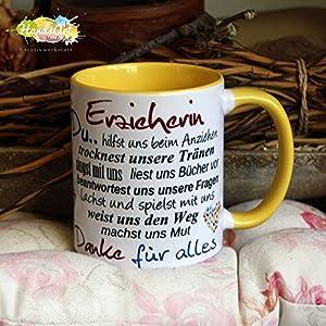Kaffeebecher ~ Tasse - Erzieherin ~ GELB