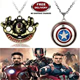 (2 Pcs AVENGER SET) - IRONMAN HANDS (GOLD) & CAPTAIN AMERICA REVOLVING SHIELD IMPORTED PENDANTS WITH CHAIN. LADY HAWK DESIGNER SERIES 2018. ❤ ALSO CHECK FOR LATEST ARRIVALS - NOW ON SALE IN AMAZON - RINGS - KEYCHAINS - NECKLACE - BRACELET &