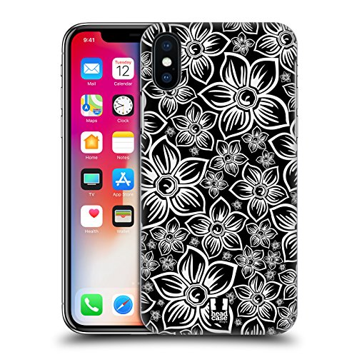 Head Case Designs Farfalla Fiori B&N Cover Retro Rigida per Apple iPhone X Margherita