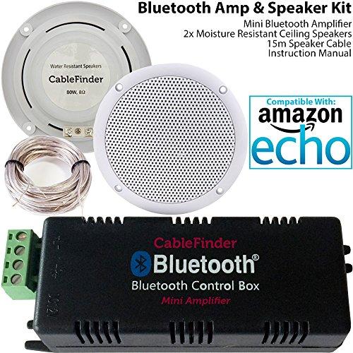 Smart Home Bluetooth Verstärker & 2x unempfindlich gegen Feuchtigkeit Deckenlautsprecher Kit–Kompakte HiFi Mini/Micro Amp–Badezimmer/Küche Audio Musik Player System–Cablefinder