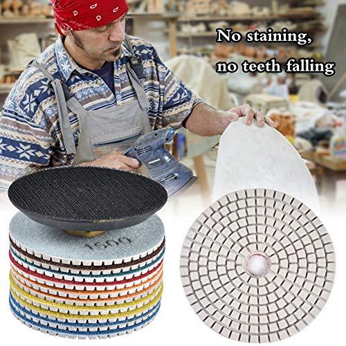 Cracklight Diamantpolierscheibe 4 Zoll Nasspolierscheibe Set für Granit, 1 Stück Klebeplatte + 10 Stück Wasserschleifplatte (2 Stück 50# + 2 Stück 100# + 2 Stück 200# + 400# + 800# + nice-looking