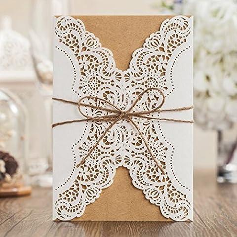 vstoy découpé au laser fait main de mariage Invitations Cartes Kit de 20pièces Blanc pour mariage fiançailles pour anniversaire avec enveloppes Corde rustique Joints