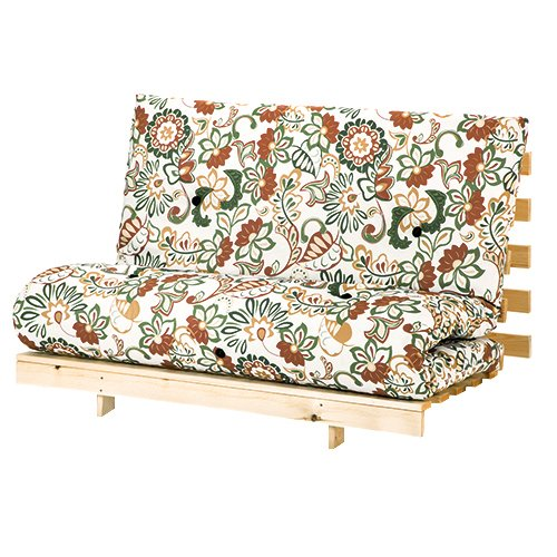 Flower Design Large Double Futon (140cm Wide) Mattress with Wooden Base Sofa Guest Bed 2 Seater