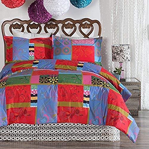 North End Bettwäsche-Set, Polynesisches Patchwork, 100% Baumwolle, wendbar, 3-teilig, für King-Size-Bett, 274 x 244 cm, Mehrfarbig - Badewanne Bettwäsche-sets