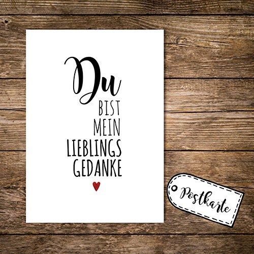 Preisvergleich Produktbild ilka parey wandtattoo-welt® A6 Postkarte Print mit Spruch Du bist mein Lieblingsgedanke pk01