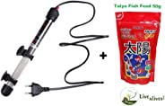 Live with Alive RS Electrical 50 Watts Aquarium Heater with Free!!!! Taiyo Fish Food 50g Pouch