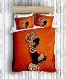 DecoMood 3D Bedruckte 100% Baumwolle Bettwäsche-Set, Traditionelle Afrikanische Frauen Motto, Full/Queen Size Bettdecke/Bettbezug Set, Orange Full/Queen Size Orange